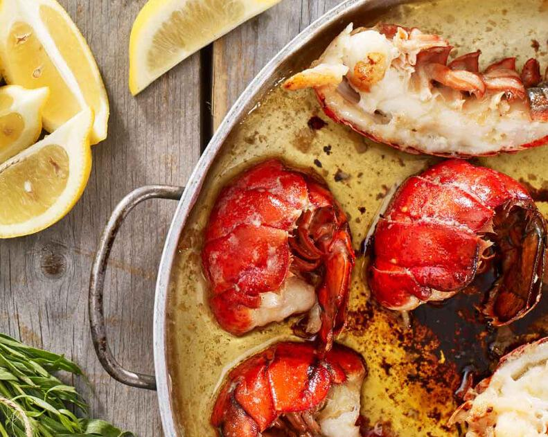 Lobster tails in butter sauce