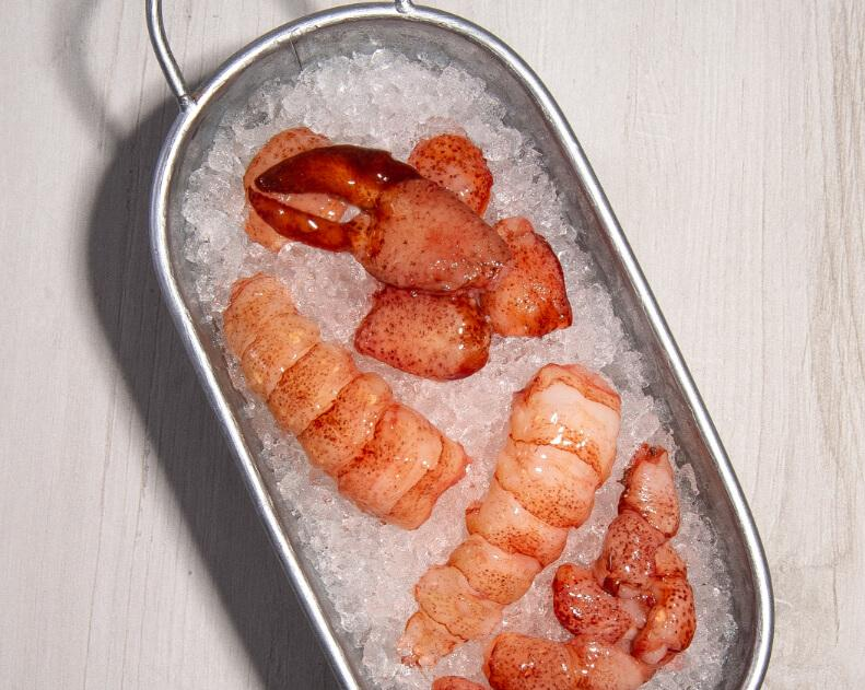 Lobster meat on ice