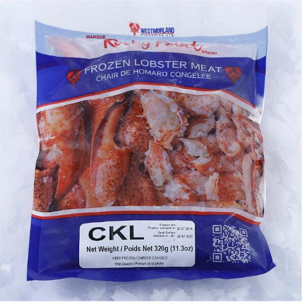 Cooked lobster meat in vacuum pack